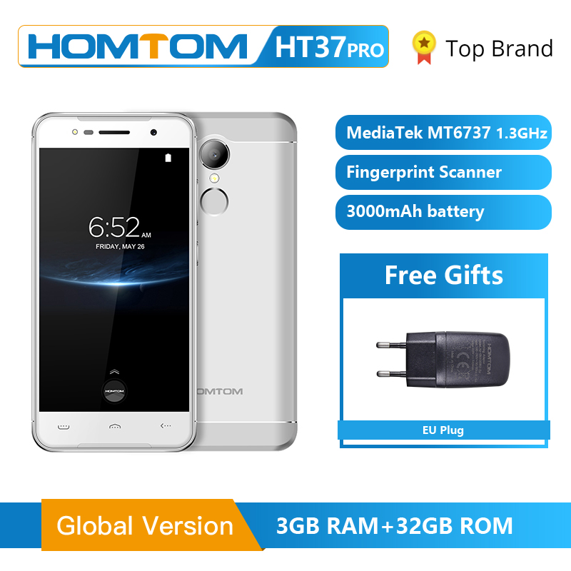 HOMTOM HT37 Pro Smartphone 4G Double Speaker MTK6737 5.0 Inch HD Android 7.0 3GB+32GB 13MP 3000mAh Fingerprint ID Mobile Phone