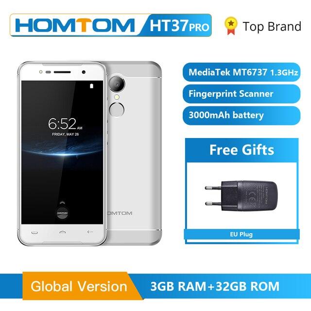 Homtom HT37 プロスマートフォン 4 グラムダブルスピーカーMTK6737 5.0 インチhdのandroid 7.0 3 ギガバイト + 32 ギガバイト 13MP 3000mah指紋id携帯電話