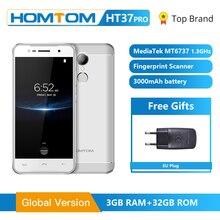 Homtom HT37 Pro Smartphone 4G Dubbele Luidspreker MTK6737 5.0 Inch Hd Android 7.0 3Gb + 32Gb 13MP 3000Mah Vingerafdruk Id Mobiele Telefoon