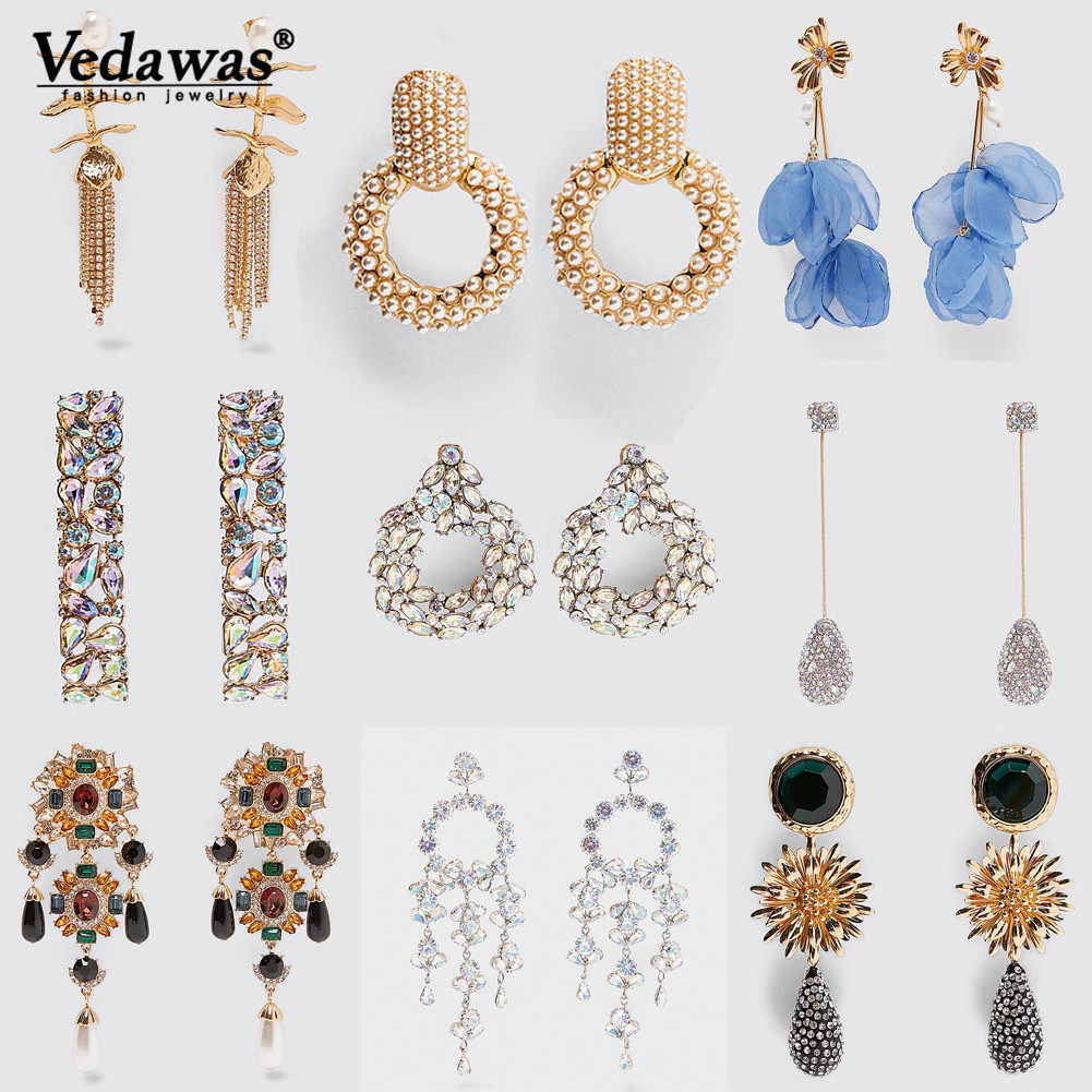Vedawas ZA Fashion Sparkly 30 Styles Big Round Square Full Rhinestone Drop Statement Earrings for Women Wedding Gifts Jewelry