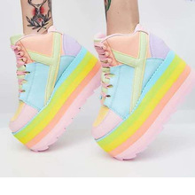 Hohe Plattform Regenbogen Sneakers Lace Up Regenbogen Schuhe Flache Plattform Frauen Schuhe Candy Farbe Süße Schuhe Casual Damen Turnschuhe