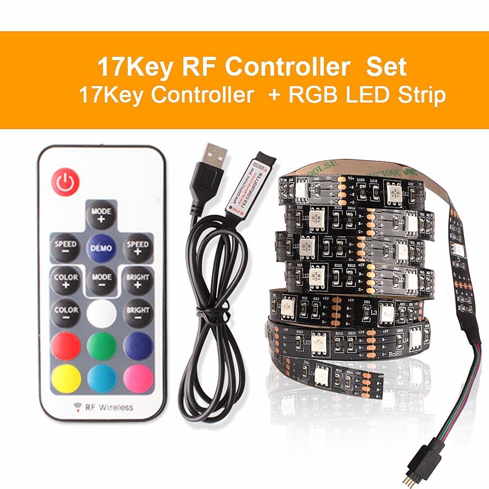 Hf73a4885c6174c72878c462ac438f85eJ RGB Tape Bluetooth USB LED Strip TV Background Flexible Neon Ribbon tira Lamp 5V 0.5M SMD 5050 RF Controller LED RGB Strip Light