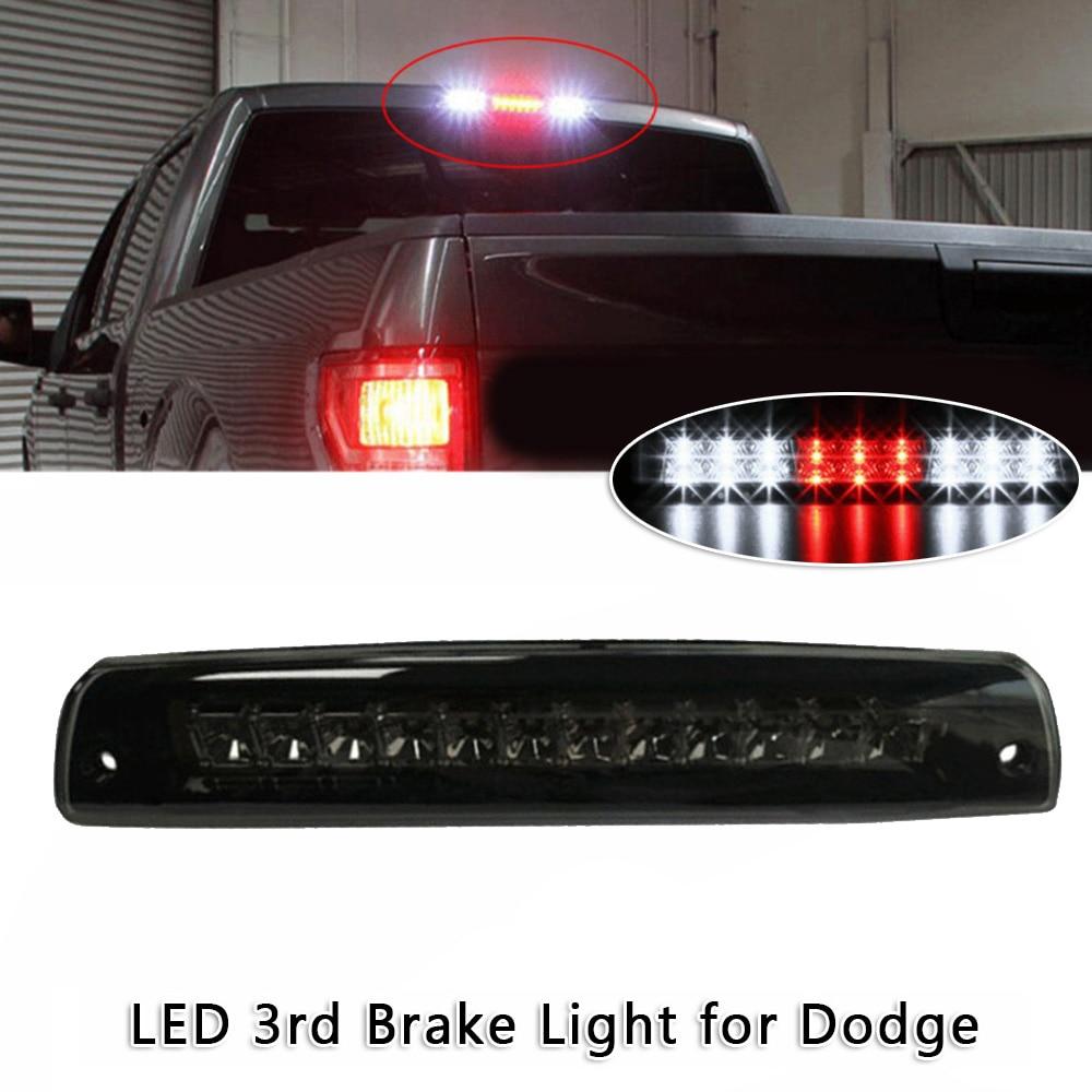 High Mount Waterproof Dual Row LED 3rd Third Tail Rear Brake Light Cargo Lamp Replacement For 2002-2009 Dodge Ram 1500 2500 3500 Smoke Lens