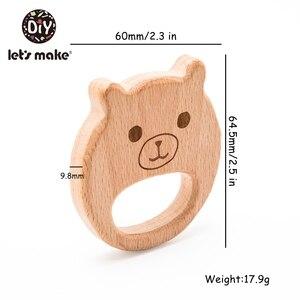 Image 3 - Lets Make 10pc Baby Wooden Teether Beech Wood Cartoon Teething Toys Montessori Inspired Nursing Pendant Baby Teether