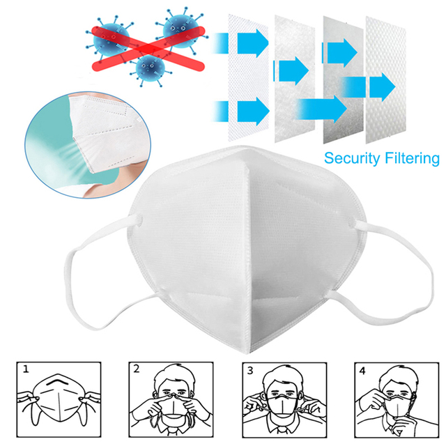 Fast Shipping KN95 5 Layers Filtering Facial Face Masks Dustproof Safety Nonwoven Earloop Disposable KN95 Cover Mouth Dust Mask 2