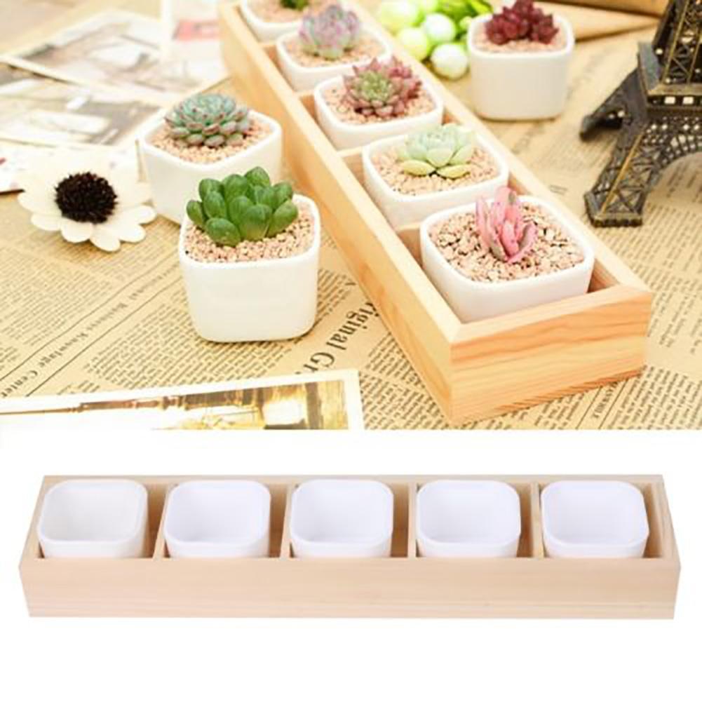 Succulent Plant Flower Decorative Square Pot Garden 2 Hole Box Container Planter Flower Pots & Planters !