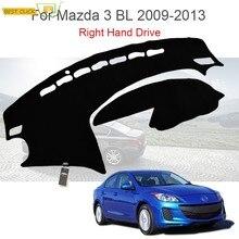Tapis de voiture antidérapant pour Mazda 3 Axela, couverture de tableau de bord, pare-soleil, conduite à droite, 2009, 2010, 2011, 2012, 2013
