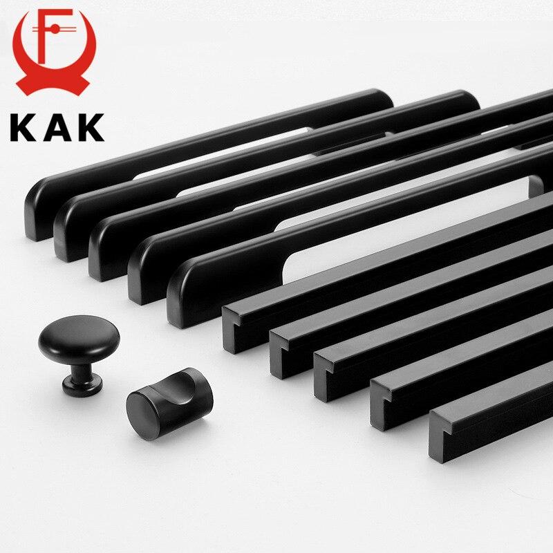 KAK Fashion Black Hidden Cabinet Handles Aluminum Alloy Kitchen Handles Cupboard Pulls Drawer Knobs Furniture Room Door Hardware