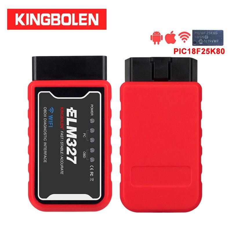 ELM327 WiFi Bluetooth V1.5 PIC18F25K80 Chip OBDII Diagnostic Tool IPhone/Android/PC ELM 327 V 1.5 ICAR2 Auto Scanner Code Reader