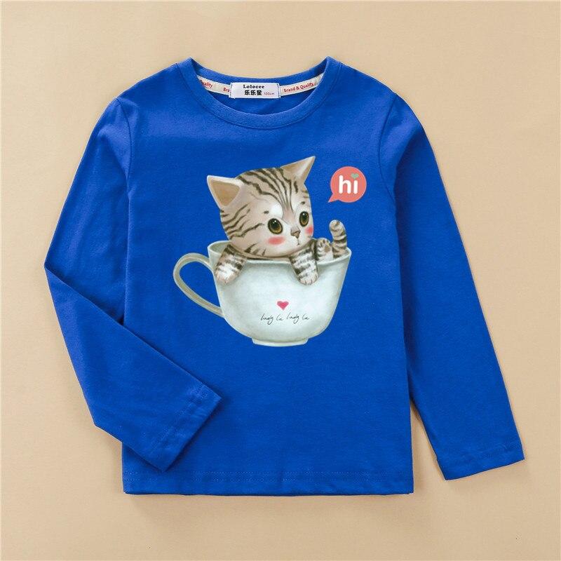 Printed tees kitten pattern girls t-shirt fashion long sleeved clothes cute cat design baby girl tops full cotton child tshirt 5