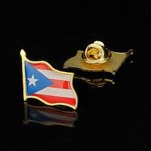 Puerto Rico Estado de EE. UU. Pins de solapa de banderas insignia chapada en oro amistad americano broche de ropa