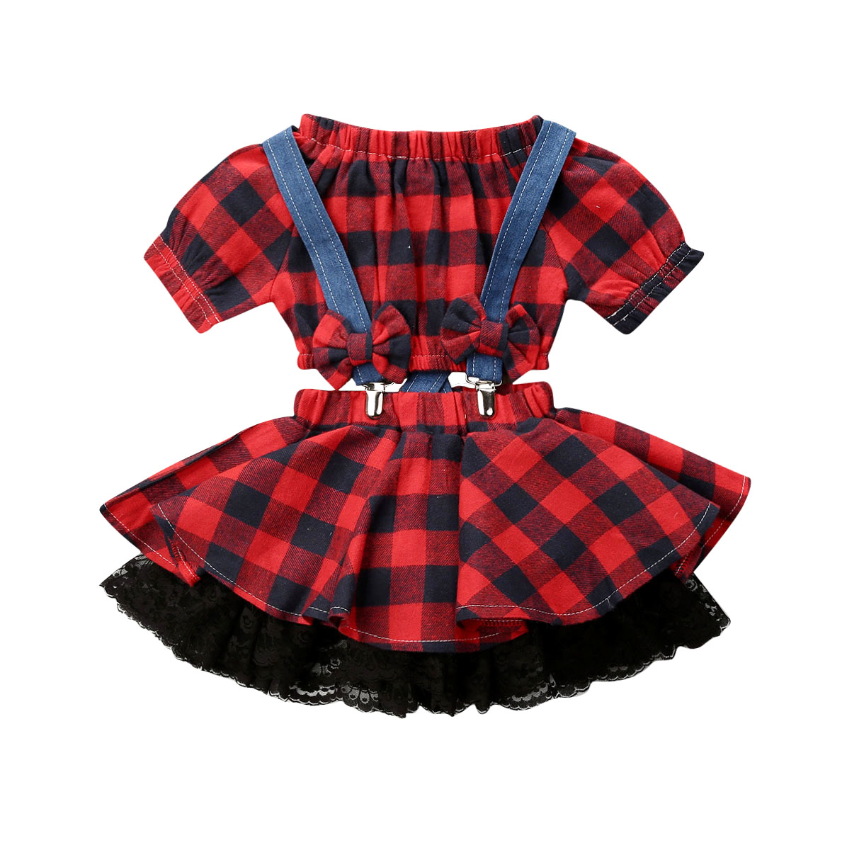 1-6Year Toddler Kid Baby Girls Clothing Set Christmas Red Plaid Tops + Lace Bow Tutu Skirts Children Xmas Outfits