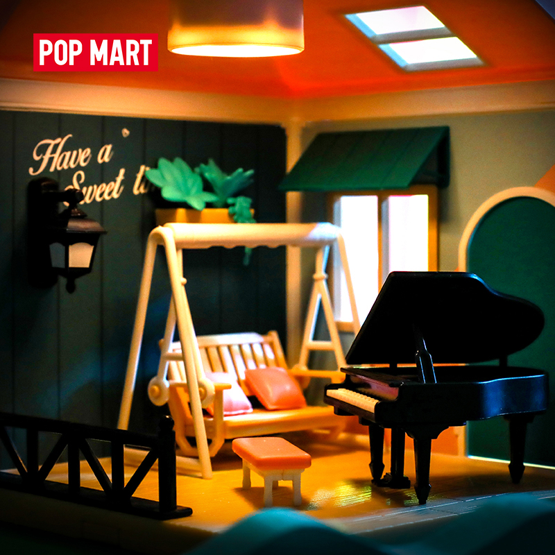Pop mart doce casa-série 2 brinquedo de montagem diy doce casa de bonecas em miniatura de madeira modelo de montagem artesanal brinquedo casa