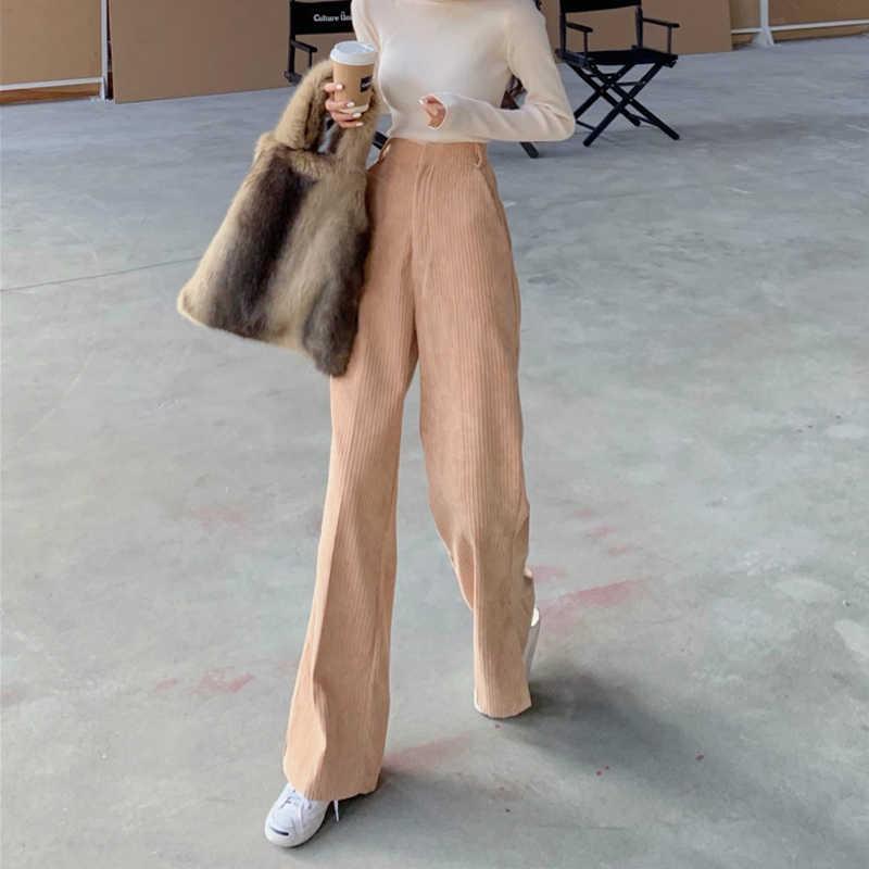 Vintage comprimento total veludo alargamento das mulheres pant primavera outono coreano dividir calças compridas streetwear senhoras sino calças inferiores