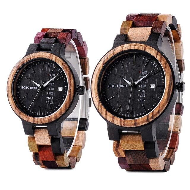 BOBO BIRD Reloj de madera para hombre y mujer, cuarzo, fecha, pareja, banda de madera colorida, logotipo personalizado, venta al por mayor