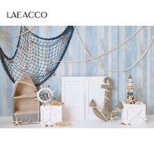 Laeacco lato miejscowe niebieska drewniana deska sieć rybacka kotwica tło dziecko spersonalizowane zdjęcie tła fotograficzne tła