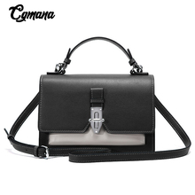 купить Brand Crossbody Bags For Women Real Cow Leather Panelled Women Messenger Bag Fashion Shoulder Bag Simple Tote Handbag Small Flap дешево