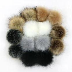 14 pces 10cm falso de pele artificial pom pom bola com elástico para diy tricô chapéu saco cachecol acessórios