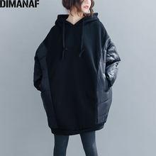 DIMANAF 2020 hiver surdimensionné sweat à capuche pour femme sweats femmes hauts pull à capuche coton épaissir flocage noir épissé manteau