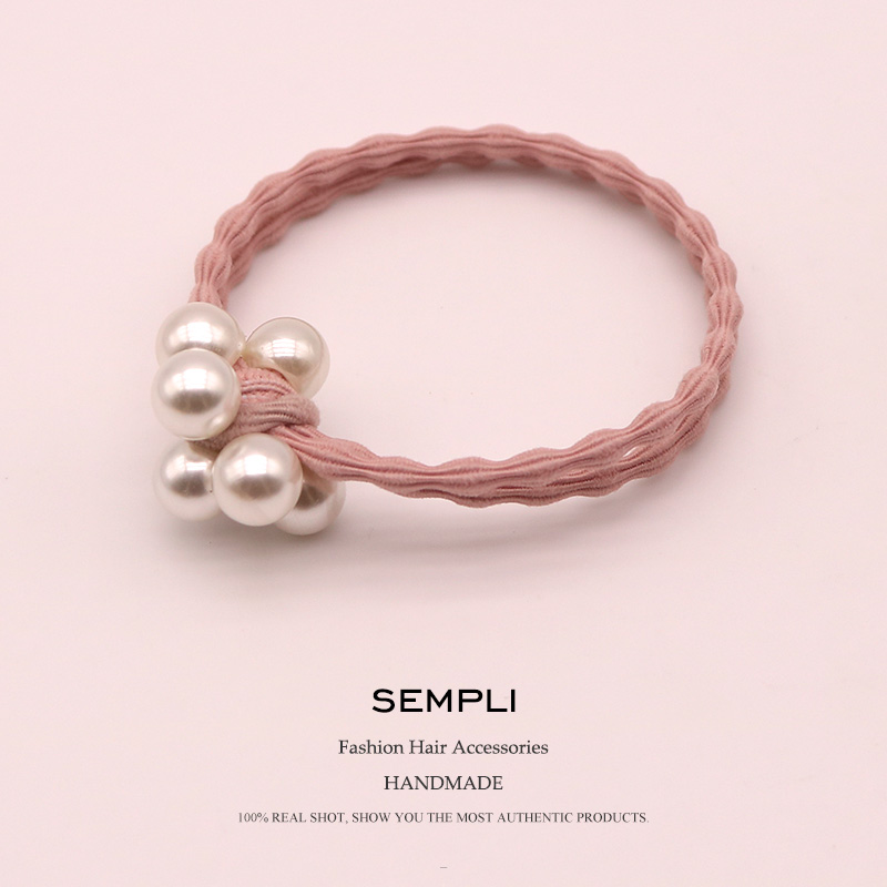 Sempli Nylon And Pearl Women's Elastic Hair Bands Girls Hair Clips For Kids Diadema Flores Hair Bows For Chirlden Accessories