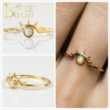 Vintage Opals Rings For Women Wedding Party Gold Promise Ring Girl Gift Australia Gem Stone Ring Female Evil Eye anillos K5 vintage engraved faux gem ring for women