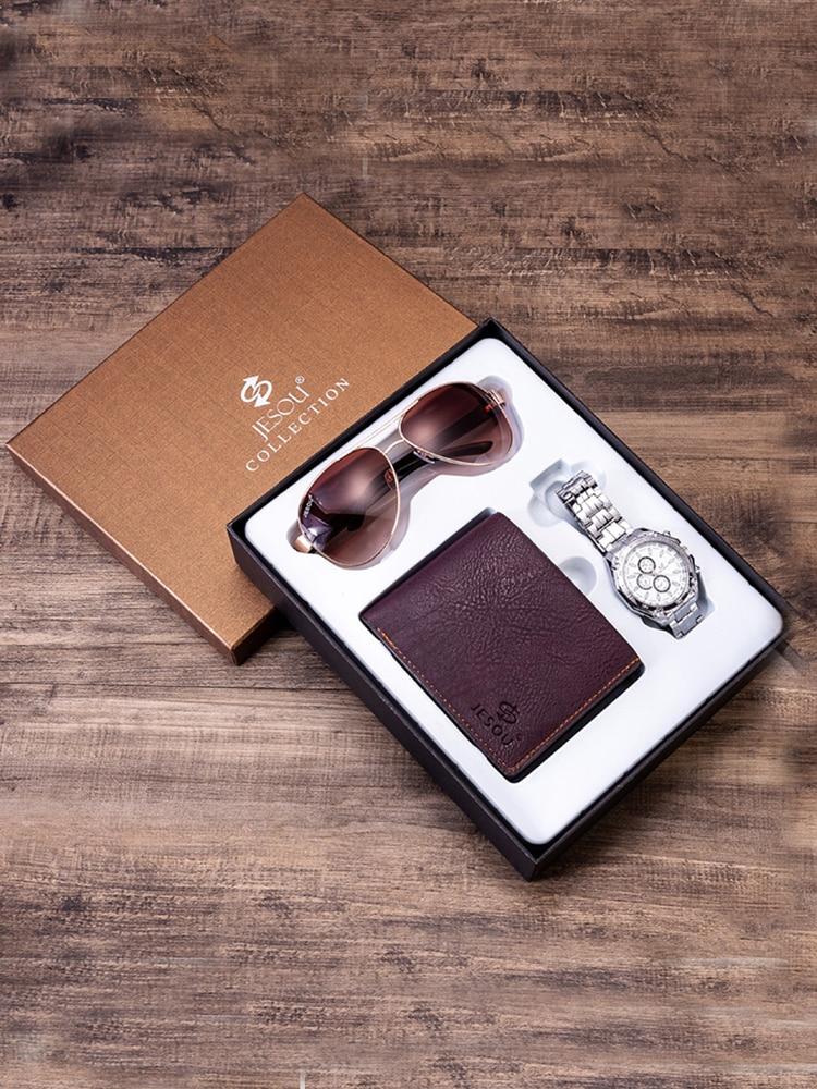 Роскошные мужские часы, подарочный набор, Стальные наручные часы, складной кожаный бумажник, модные солнцезащитные очки, мужские наборы