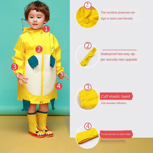 Cartoon Cloak Yellow Raincoat Kids Kindergarten Animal Cute Long Rain Coat Child Rain Pants Waterproof Rain Poncho Suit Gift 2