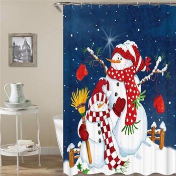 Boże narodzenie zasłona prysznicowa zasłona z hakami zasłony łazienkowe 3d zasłona prysznicowa w formie kwiatu łazienkowa śnieżynka wodoodporny prysznic kurtyna lub mata tanie i dobre opinie CN (pochodzenie) Poliester Amerykański styl cartoon Ekologiczne Other T16YL011 W150cm*L180cm W180cm*L200cm 350~400g Use as bathroom curtain window pannel or door
