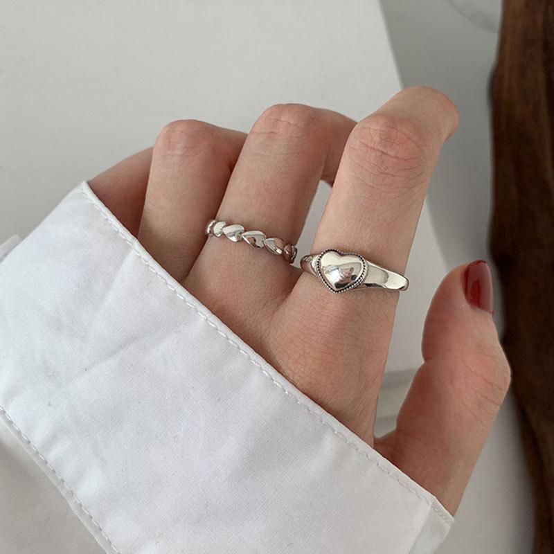 XIYANIKE 925 argent Sterling rétro amour coeur creux anneau ouvert femme INS tendance doux Sexy élégant fait à la main Hip-hop mode anneau 4