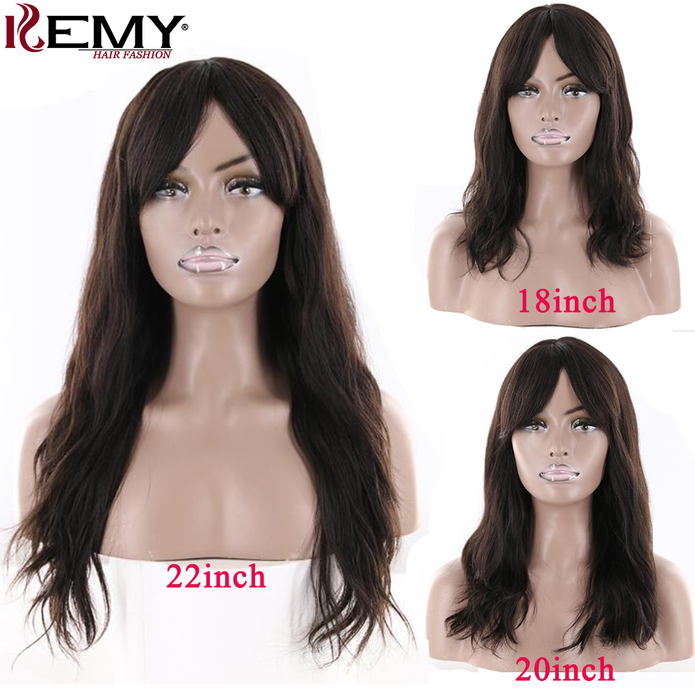 Natural Wave Human Hair Wig With Bangs For Black Women KEMY 14-26inch Middle Part Brazilian Remy Hair Wigs Full Machine Wig