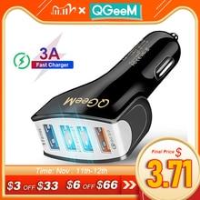 QGEEM 4USB QC 3.0 chargeur de voiture Charge rapide 3.0 téléphone Charge voiture chargeur rapide 4Ports USB voiture chargeur Portable pour iPhone Xiaomi