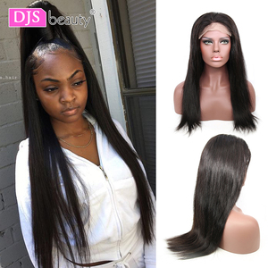 Image 1 - 6x6 Lace Closure Wig Brazilian Virgin Hair Straight Lace Front Human Hair Wigs For Black Women Pre Plucked Wigs DJSbeauty