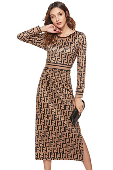 SKYYUE new pattern women print dress sleeve female casual straight dresses chic Mid-Calf length vestidos party dress  plus size 6