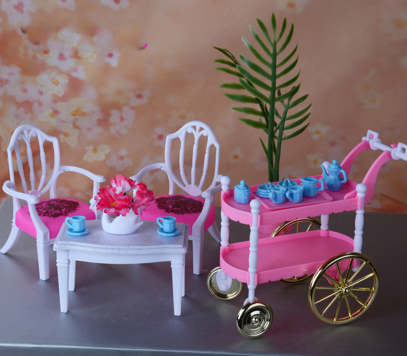 Tea time Play Set for <font><b>barbie</b></font> <font><b>original</b></font> dinner table 1/6 bjd bebek doll furniture boneca house accessories <font><b>casa</b></font> baby lalki toy image