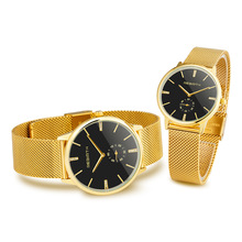 Couple Watches Pair Men And Women Lovers Man Clock Gold Black Quartz Fashion Watch Luxury Rhinestone Bracelet Male
