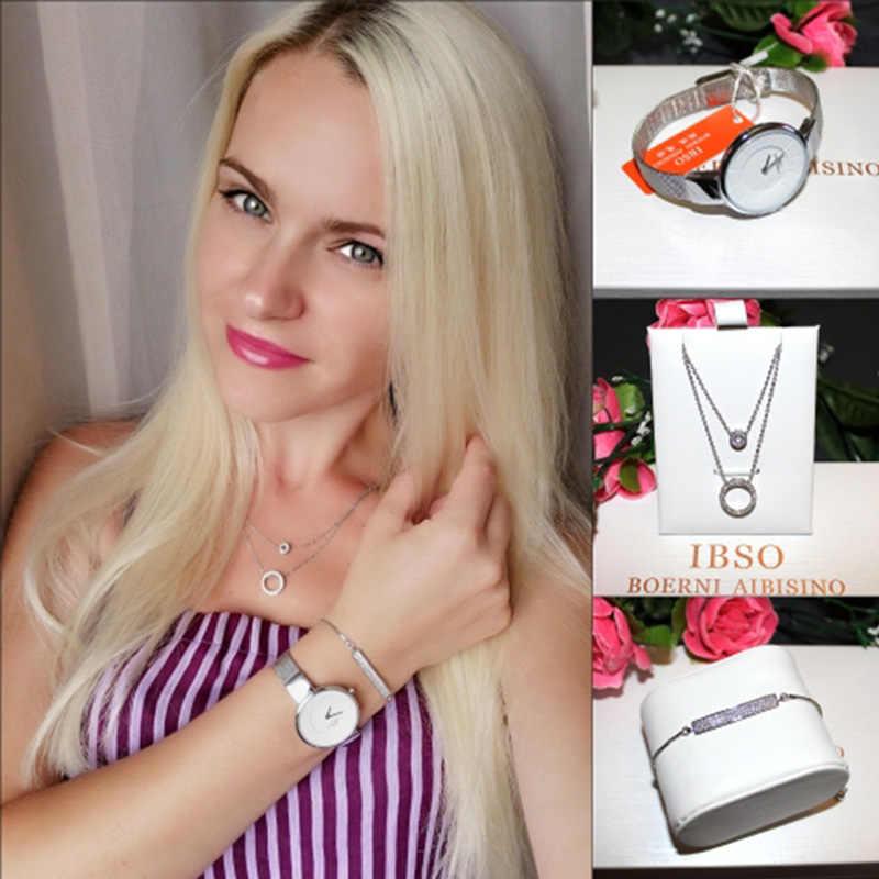 IBSO Marke Frauen Uhr Kristall Design Armband Halskette Uhr Set Weibliche Schmuck Set Mode Kreative Quarzuhr dame Geschenk