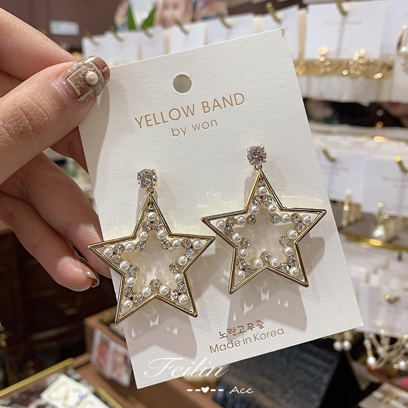 heavy industry vintage temperament star pearl earrings
