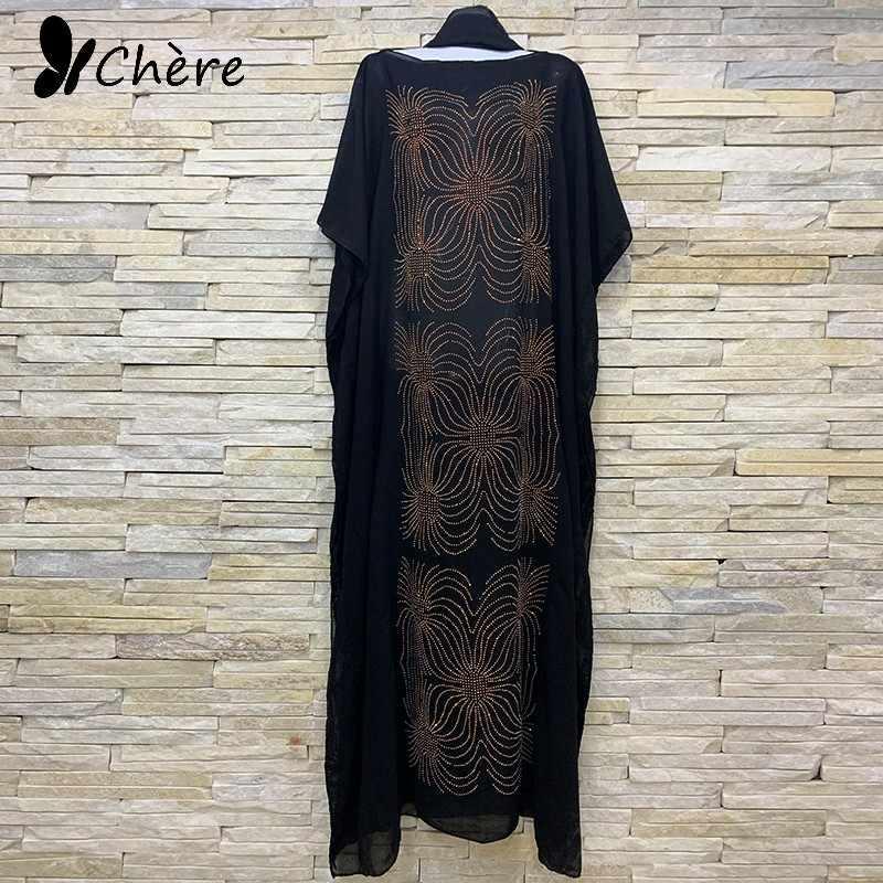 2020 חדש אפריקאי זהב Rhinestones 100% כותנה שיפון ארוך דאשיקי שמלה עם צעיף עבור אפריקאיות גברת בגדי שמלת 722 #