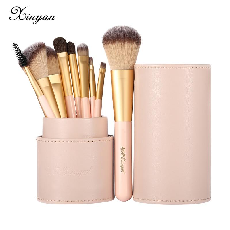 XINYAN Candy Makeup Brush Set Pink Blush Eyeshadow Concealer Lip Cosmetics Make up For Beginner Powder Foundation Beauty Tools 1
