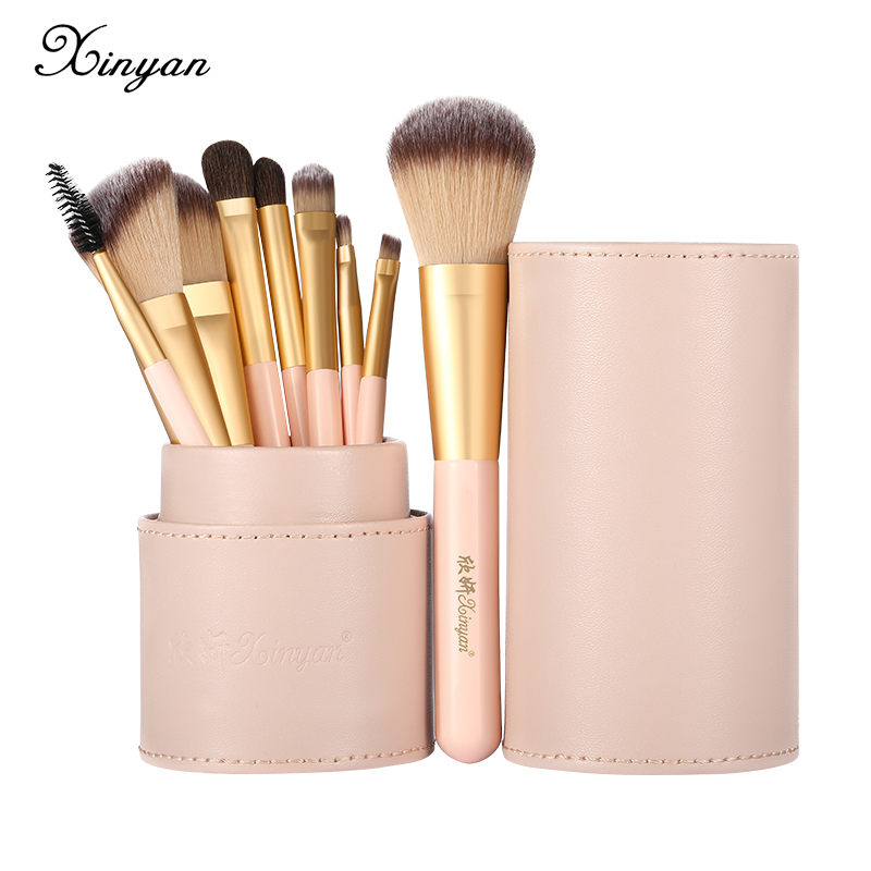 XINYAN Candy Makeup Brush Set Pink Blush Eyeshadow Concealer Lip Cosmetics Make up For Beginner Powder Foundation <font><b>Beauty</b></font> Tools image