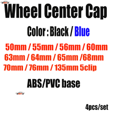 Car Styling 4x Wheel Rim Center Cap Black/blue 55mm 56mm 60mm 63mm 65mm 70mm 75mm 135mm 50mm 66mm 68mm For Passat B6 B7 CC Golf