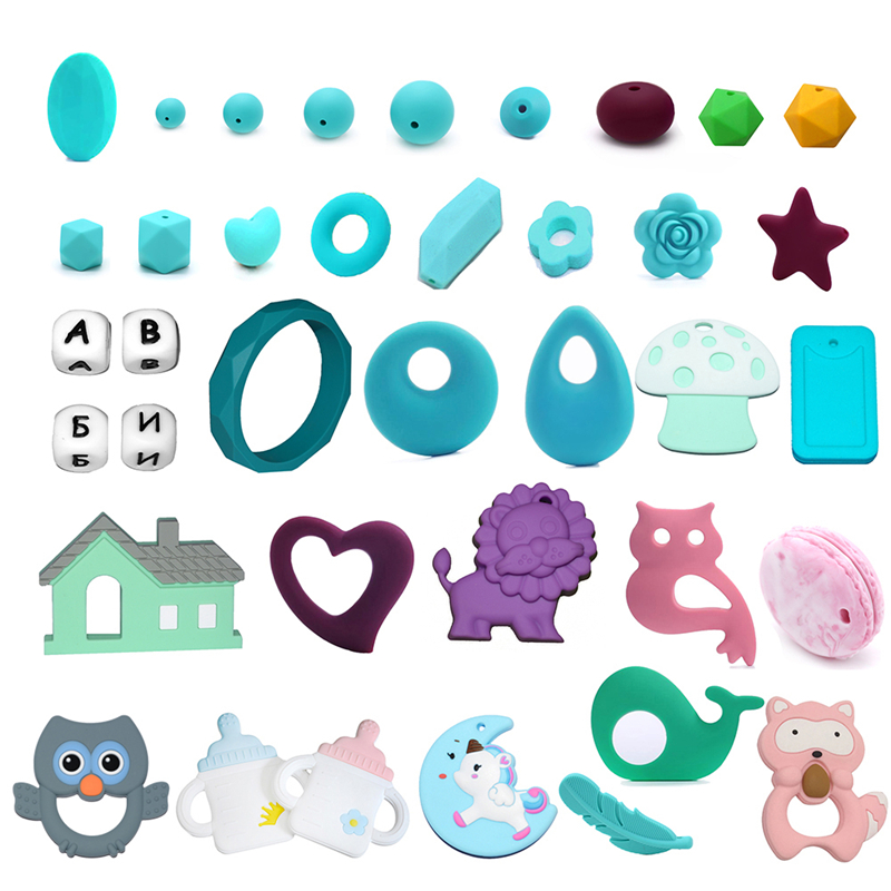Coskiss 100pc Silicone Baby Teething Beads 15mm Safe Food Grade Care Chew Round BPA Free Silicone Beads Teether Nursing Necklace