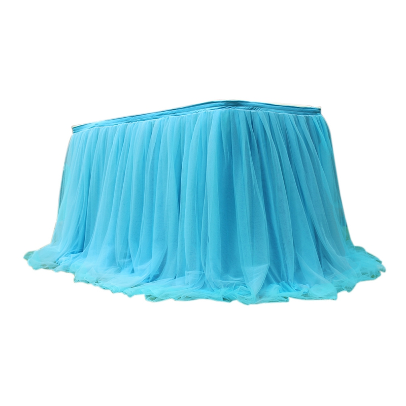 Tutu Tulle Table <font><b>Skirt</b></font> Elastic Mesh Tableware Tablecloth For Wedding Party Table Decoration Home Te NEW!<font><b>tile</b></font> Accessories image
