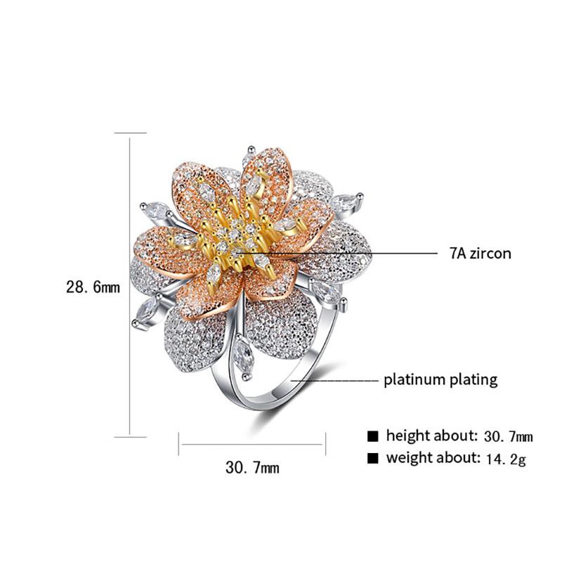BALMORA réel 925 pur argent anneaux pour femmes fille exagéré cristal fleur bague bijoux Anillos cadeaux de noël pour elle - 3
