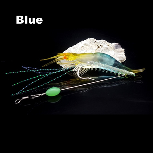 Soft Artificial Fishing Shrimp Lures Hook Swivel Silicone Fishing Bait@