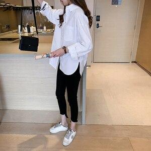 Image 3 - Kadın gömlek resmi Vintage bluz bayan artı boyutu üstleri OL Chemise Femme Manche Longue 4XL büyük boy pamuklu beyaz gömlek kadın