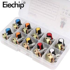 Комплект потенциометров WH148 B1K 2K 5K 10K 20K 50K 100K 500K 1 м 15 мм линейный конус роторный потенциометр резистор набор 3pin с крышкой