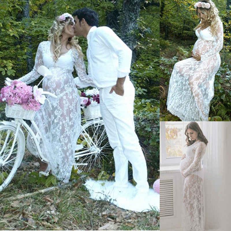 Musim Panas Wanita Depan Split Panjang Maxi Maternity Hitam & Putih Renda Gaun Hamil Renda Gaun Gaun Fotografi Prop Melihat Melalui gaun