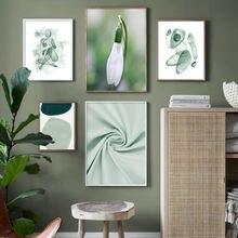 Зеленая ткань геометрический рисунок цветок настенная живопись