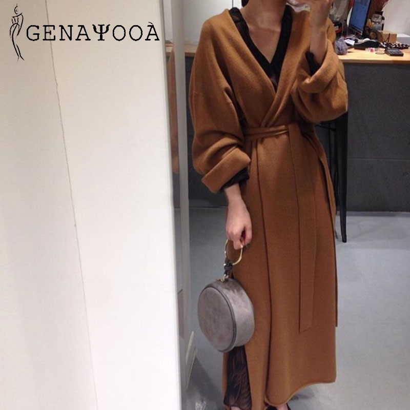 Genayooa Knitting Kimono Cardigan With Belt Thin Sweater V Neck Long Loose Coat Woman Korean Fashion Casual 2019 Befree Harajuku